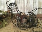 Vtg Primitive Folk Art Rustic Country Wire Chicken /Painted Wooden Eggs Basket