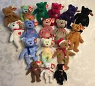 BEANIE BABIES Lot of 14 Bears & 3 Minis THE END ERIN PEACE DI CHARITEE GROOVY+