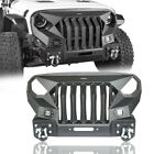 Mad Max Grill + Stubby Front Bumper For Jeep Wrangler JK 2007 2018 w Spotlight