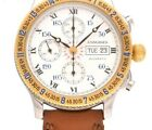 LONGINES Lindbergh Hour Angle Chronograph L2.602.5 Yellow Gold Leather Automatic