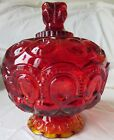 LE Smith Moon And Stars Amberina Candy Dish With Lid 8-1/4