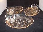 SET OF 3 SERVING PLATES VINTAGE MCM TEA CUP PARTY PLATE TRAY GLASS DESIGN (Z91)