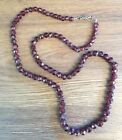 Vintage Faceted Garnet Bead Necklace With Sterling Silver Clasp 18
