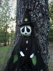 OOAK Primitive HALLOWEEN Folk Art Witch Ghost Doll w/Black Lantern 50