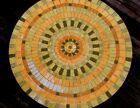 mosaic top round coffee table vintage wrought iron base 32