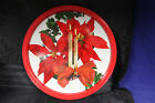Vitage Metal Tin Christmas Round Serving Snack Tray Poinsettia Candles red