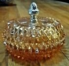 Vintage Indiana Glass Diamond Point Pattern Glass Bowl With Lid 5.5
