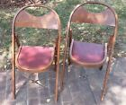 Pair Of Vintage Wooden Curved Back Folding Funeral Parlor Chairs
