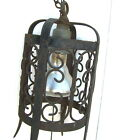 1920s Salvage Antique Gothic Wrought Iron Lamp Lantern Light Fixture, Spikes