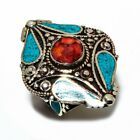 Chritmas Special Tibetan Turquoise Coral Handmade 925 Silver Ring 5 To 10 Adj