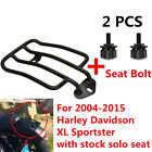 Black Luggage Rack Solo Seat W/ Two Blots For Harley Sportster XL883 1200 04-15