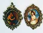 Vintage Three Inch Oval Metal Picture Frames With Paintings Of Girls From Estate
