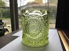 antique or vintage yellow / emerald green glass vase super heavy  very old THICK