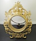 Antique Victorian French Rococo Brass Gilt Bronze Picture Frame-Oval-Easel