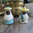 Vintage Mexican Couple Salt and Pepper Shakers Ceramic