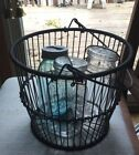Vintage Metal Wire Waste Basket with Handle and Ball Canning Jars
