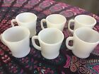VTG LOT OF 6 MILK GLASS FIRE-KING COFFEE MUGS CUP D-HANDLE Barely Used