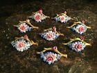 Set of 8 Antique French Barbotine Majolica Place Card Holders Dining Table Rose