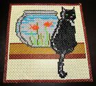 VTG Handcrafted Kitschy Black Cat w Fish Beaded Stained Glass Hanging Wall Art