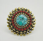 Brass Ring  Asian design Ring Stone Tribal Turquoise jeewelry Handmade CG8