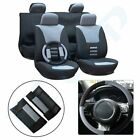 Universal Greybluebeige Black Mesh Cloth Car Seat Covers Wheadrest Cover