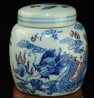 china old Blue and Underglaze Red Hand painted Dragon porcelain tea caddy b01