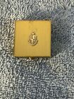 VINTAGE BRASS LADIES COMPACT COAT OF ARMS ON FACING NO NAME MIRROR INTACT