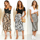 US Womens Stretch Pencil Skirt High Waist Skirts Leopard Print Short Midi Skirt