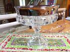 Indiana Kings Crown Thumb Print Clear Glass Vintage Candy Dish