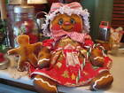 Primitive Christmas Gingerbread girl and cookie doll shelf sitter bowl filler