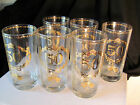 Set of 6 Culver 50th Wedding Anniversary Highball High Ball Glasses, Gold, 10 oz