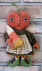 PRIMITIVE FOLK ART FALL HALLOWEEN PAINTED PUMPKIN HEAD DOLL WITH CANDY CORN