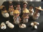 Primitive 14 Pc Handmade Chalkware Christmas Nativity Set Mexico