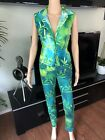 GIANNI VERSACE VINTAGE Sexy Plunged Shirt Top  Pants Jeans 2 Piece Set ICONIC