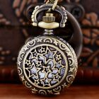Bronze Star Quartz Vintage Pocket Watch For Men Necklace Pendant Chain Antique