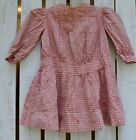 Antique Farmhouse Primitive Early Baby Childs Dress Red White Checker Fabric
