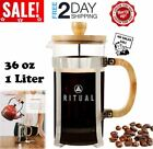 French Press Coffee Maker Tea Cup Pot Drink Glass Plunger Stainless Steel Large