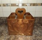 Vintage Wood And Copper Metal With Heart Cut-Out Decorative Storage Box