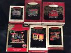Train ornaments set of 5 Yuletide Central + Santa train engine by Hallmark