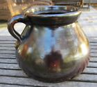 Antique stoneware brown bean pot one handle unusual shape
