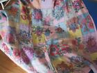 ANTIQUE HANDMADE  TIED REVERSIBLE 64 LARGE FLOWER PATCHWORK QUILT 50X73
