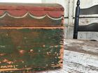 EARLY AAFA ANTIQUE FOLK ART MINIATURE TRUNK HAND PAINTED HORSE RED SQUARE NAILS