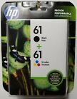 NEW HP 61 Black + 61 Tri Color Ink Cartridges CR259FN Exp 4 2019+ FREE SHIPPING
