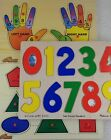 LOT OF 3 Educational PUZZLES Set Melissa  Doug Wood n Things NUMBER SHAPE HAND