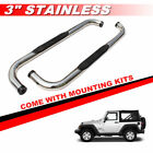 3 Stainless Round Side Steps Running Board For 1987 2006 JEEP WRANGLER TJ YJ