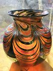 NO SHIPPING 1/22-31 Signed 1992 D Lotton Art Glass Pulled Leaf Pink Silver Vase