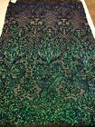 NEW Iridescent Green Damask 4Way Stretch Mesh Lace Sequin Fabric Gown Prom BTY