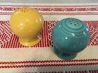 Vintage Fiestaware Turquoise And Yellow Ball Salt & Pepper Shakers