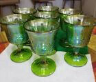 7 Indiana Carnival Glass Harvest Grape Iridescent Green Wine Goblets with Stem