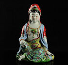 COLLECTIBLE CHINESE FAMILLE ROSE PORCELAIN HANDMADE CARVED KWAN-YIN STATUE